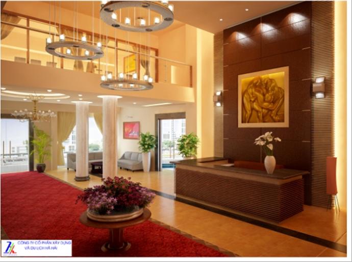 Nội thất sảnh chính Khách sạn Hà Hải- Khu trung tâm dịch vụ TDTT- Khu Đô thị sinh thái Hà Hải, thành phố Hải Dương